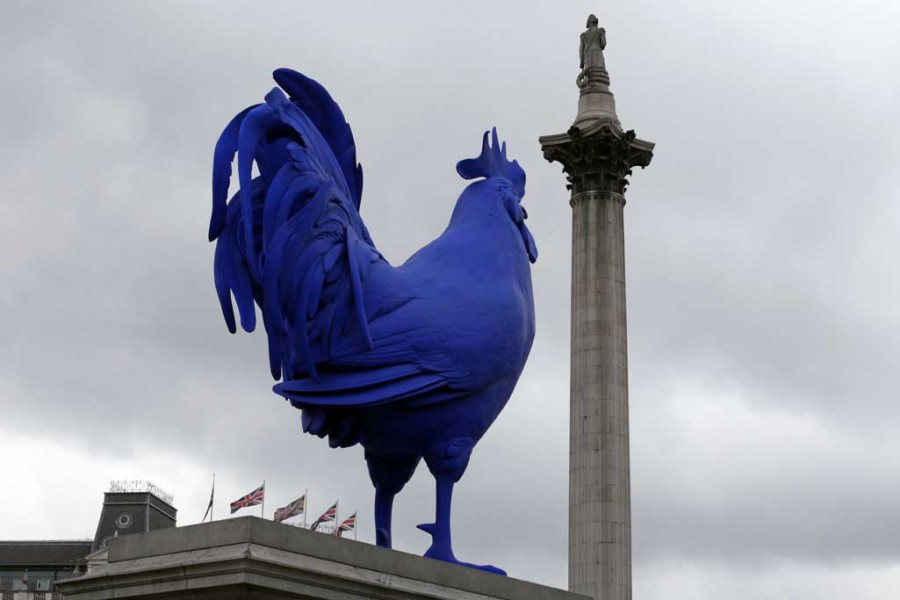 'Hahn/Cock' (2013), Katharina Fritsch, installed in on the fourth plinth in Trafalgar Square in 2013.