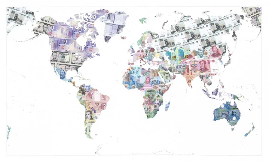 'Money Map of the World' (2013), Justine Smith © Justine Smith, Courtesy: TAG Fine Arts