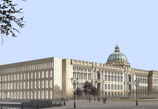 Render of the Humboldt Forum in Berlin, showing the reconstructed north façade and dome of the former Stadtschloss and a contemporary east façade designed by Franco Stella.