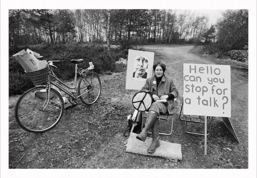 A picket mounted on the missile silo construction road by the Women's Peace Camp at RAF/USAF Greenham Common, Berkshire