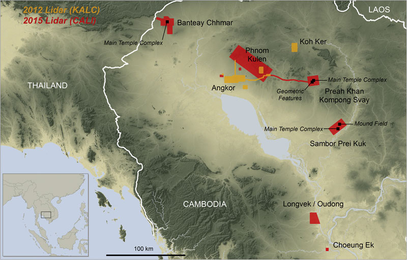 Overview map of Cambodia showing the main coverage blocks for the 2012 and 2015 ALS acquisitions, and noting features mentioned in the text. Background elevation courtesy of NASA SRTM.