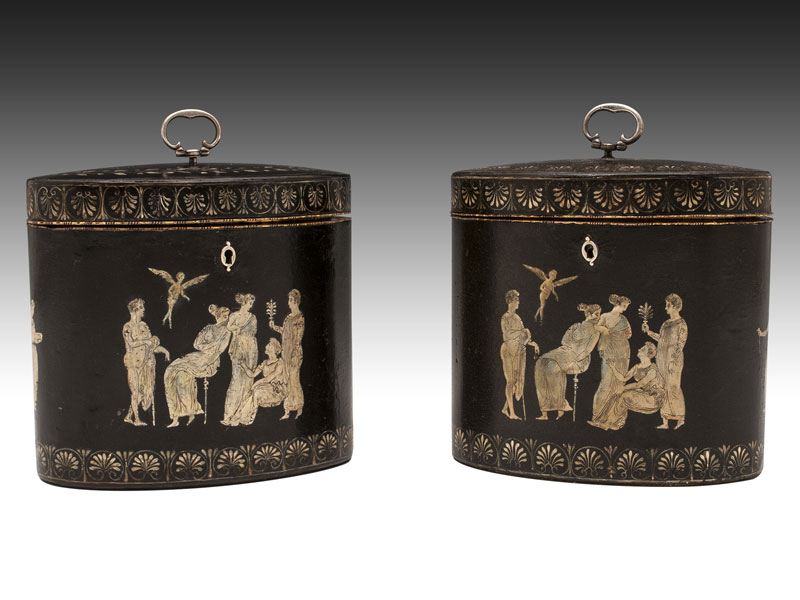 Tea Caddies (c. 1790) attributed to Henry Clay.