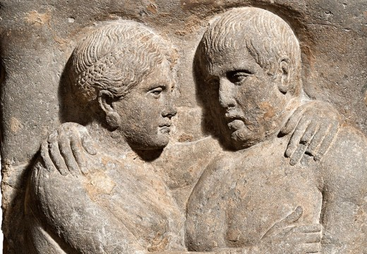 Sarcophagus and lid with portraits of husband and wife (detail; late 4th–early 3rd century BC), Etruscan; Volcanic tuff.