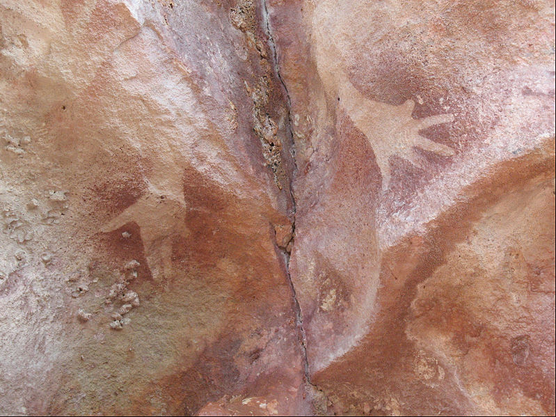 Hand stencils with mutilated little finger at the Djulirri rock art site in the Wellington Range of Arnhem Land, Northern Territory, Australia.