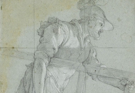 Detail of soldier carrying a ladder, and a subsidiary study of a man holding a torch (recto), with a faint fragmentary study (verso),