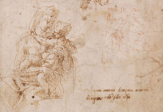 Studies of the Virgin and Child (detail; c. 1522–24), Michelangelo. Pen and brown ink, with copies in red chalk by Antonio Mini. British Museum