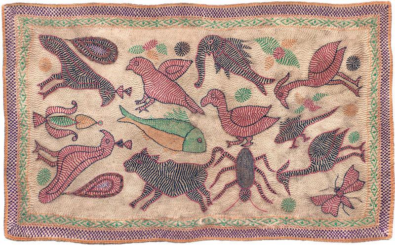 Kantha embroidered and quilted with birds and animals (late 19th century), India, West Bengal. This is the first work that Jagdish Mittal bought, in 1946.