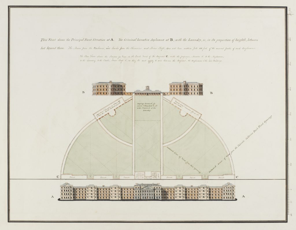 Architectural plans and explanatory notes for a new Bethlem Hospital, (xxxx), James Tilly Matthews.