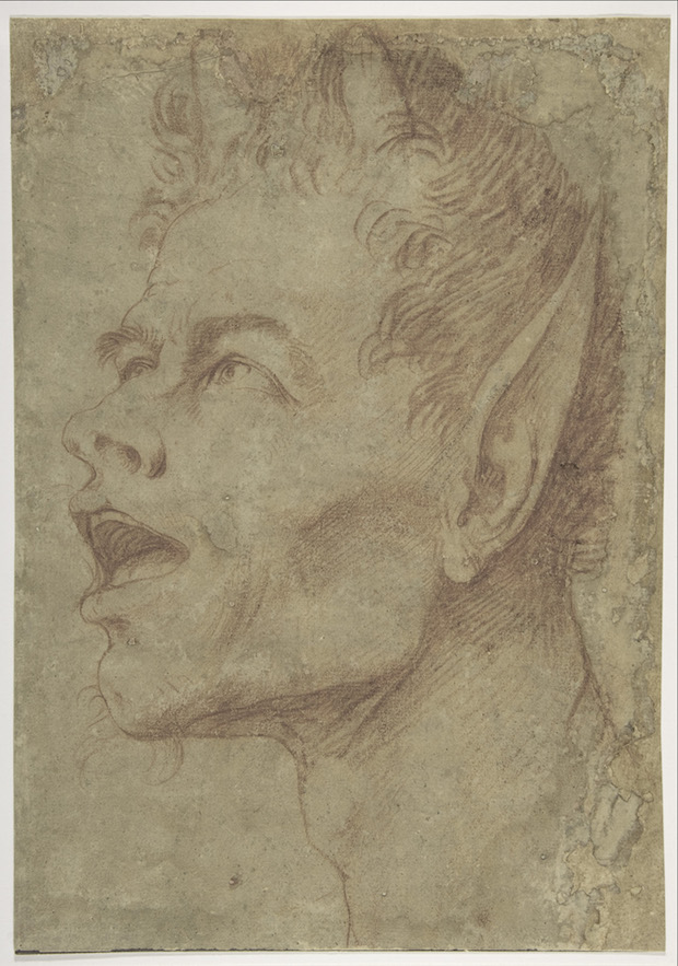 Head of a Satyr Facing Left, (c. 1625-30), Jusepe de Ribera.