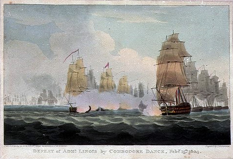 Defeat of Admiral Linois by Commodore Dance, February 15th 1804 (1804), William Daniell. National Maritime Museum