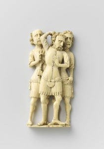 Three soldiers (from the Flagellation of Christ; 1360), Master of Agrafen, or a follower.