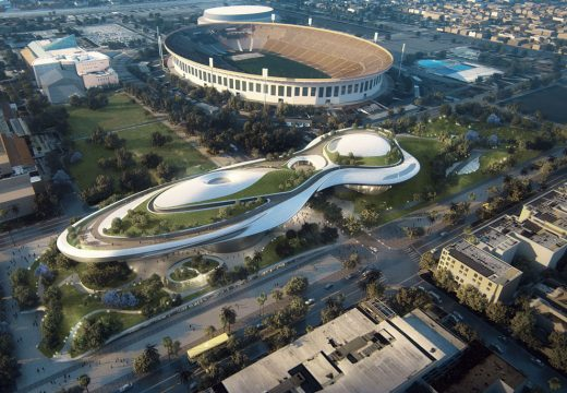 Rendering of the George Lucas Museum of Narrative Art, which will be located in LA's Exposition Park