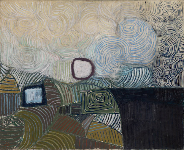 Spiral Motif in Green, Violet, Blue and Gold: the Coast of the Inland Sea (1950), Victor Pasmore. © Tate London 2016