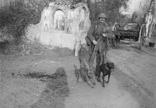 Soldier from the Royal Engineers with two messenger dogs and a roadside shrine (December 1917), Ernest Brooks. Courtesy: Imperial War Museum