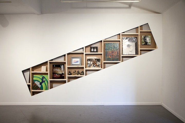 Installation view of Stress, Fear and Anxiety Bundle (2015), by artists whose collective debt totals $732,462.24 (left to right: Amy Beth Wright, Katherine Culbertson, Marc Newsome, anonymous, Lucas Berd, Claire Webb, Ben Tecumseh De Soto, Greg Scott, Bereniz Martinez, and Lara Anne). Courtesy the artists