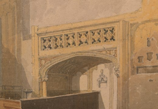 Norwich Cathedral: the North aisle of the choir (detail) (c. 1807–11), John Sell Cotman. Lowell Libson, around £200,000